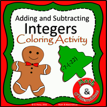 Christmas Math Review-  Integers Operations Coloring Activ