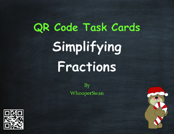 Christmas Math: Simplifying Fractions QR Code Task Cards