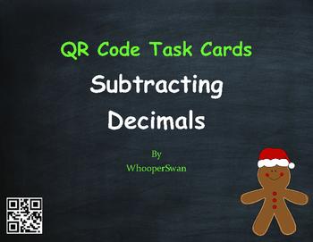 Christmas Math: Subtracting Decimals QR Code Task Cards