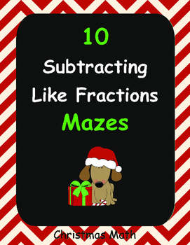Christmas Math: Subtracting Like Fractions Maze