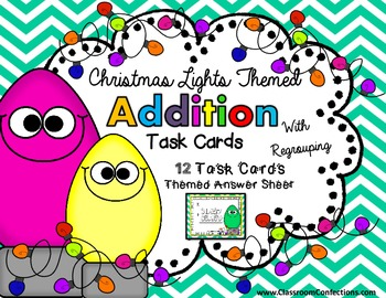 Christmas Math Task Cards for 4th Grade: Addition: Math Ce