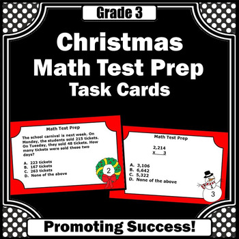 Christmas Math Centers 3rd Grade Task Cards for Review Gam