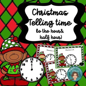 Christmas Math Telling Time (to hour & half hour) Task Car