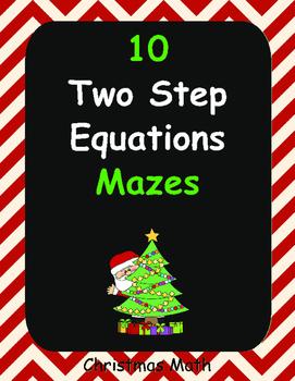 Christmas Math: Two Step Equations Maze