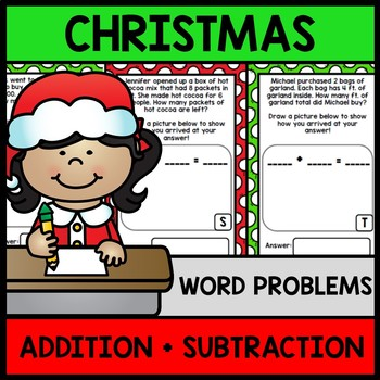 Christmas Math Word Problems - Addition - Subtraction - Sp