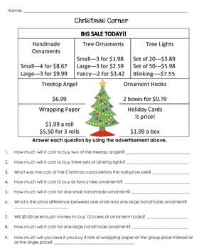 Christmas (Math) Word Problems {CCSS Aligned}