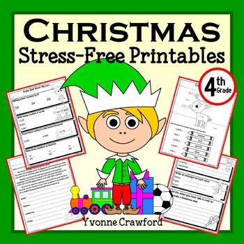 Christmas NO PREP Printables - Fourth Grade Common Core Ma