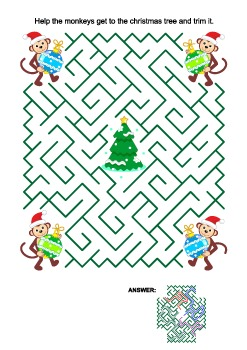 Christmas Maze Game with Monkey Santa Helpers, Commercial