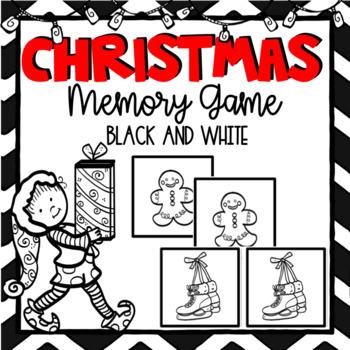 Christmas Memory Game- Black and White