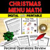 Christmas Menu Math 5th and 6th