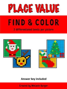 Christmas Mystery Pictures - Place Value (Santa, Reindeer,