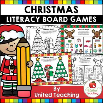 Christmas No Prep & Color Language Arts Board Games