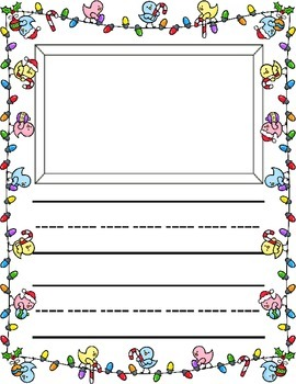 Christmas / Noël ~ Primary Illustrated Writing Paper ~ Birds