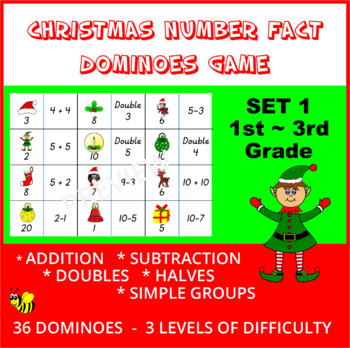Christmas Number Fact Dominoes: Set 1 ~ Maths Game for 1st