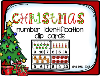 Christmas Number Identification Clip Cards