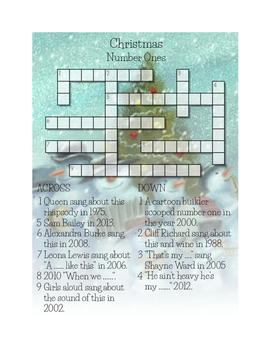 Christmas Music Number Ones Crossword