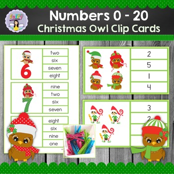 Christmas Number Clip Cards 0-20