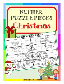 Christmas - Number Puzzle Pieces EASY PREP