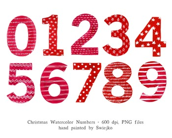 Christmas Numbers, watercolor, 123, counting, Holiday deco