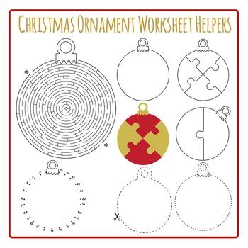 Christmas Ornament Worksheet Helpers Clip Art Pack for Com