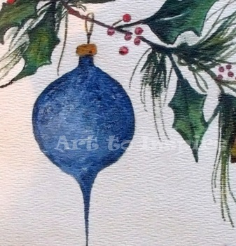 Christmas Ornament and Holly Painting digital download cli