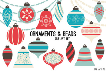 Christmas Ornaments Clip Art Bead Strands Swags Blue Coral