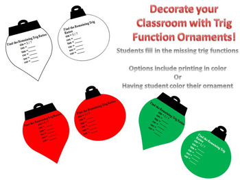 Christmas Ornaments: Find the Missing Trig Functions