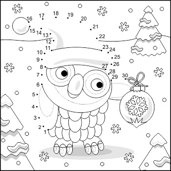 Connect the Dots and Coloring Page with Christmas Owl, Com