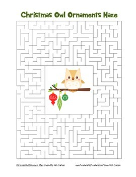 """""""Christmas Owl Ornaments"""" Maze! Holiday FUN! (Color and Bl"""