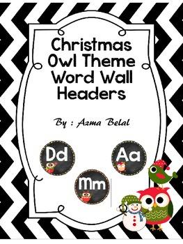 Christmas Owl Theme Word Wall Headers