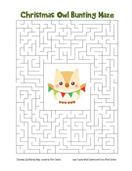"""""""Christmas Owl with Bunting"""" Maze! Holiday FUN! (Color and"""