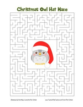 """""""Christmas Owl with Hat"""" Maze! Holiday FUN! (Color and Bla"""