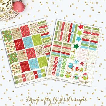 Christmas Owls Printable Planner Stickers Mini Kit