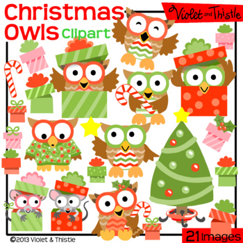 Christmas Owls Set 1Tree Candy Cane Mouse in Gift Present