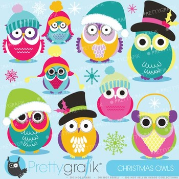 Christmas Owls clipart commercial use, vector graphics, di