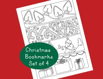 Christmas Printable Bookmarks PDF Holiday Tree Presents Ca