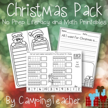 Christmas Pack Literacy and Math No Prep Printables