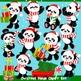Christmas Panda Clipart Set