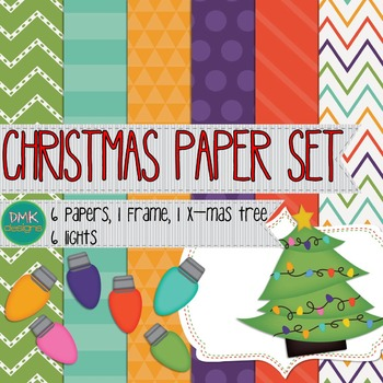 Digital Paper and Frame Set- Christmas Tree