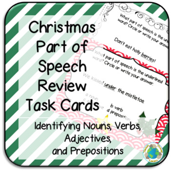 Christmas Parts of Speech Review Task Cards
