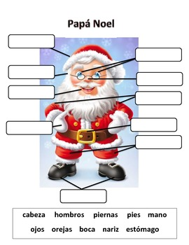 Christmas Parts of the Body Practice in Spanish