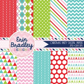 Christmas Party Digital Papers Chevron Polka Dots Striped