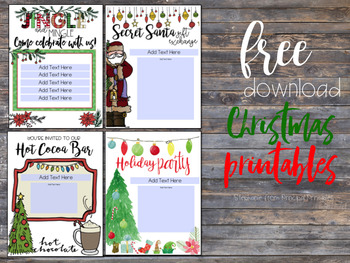Christmas Party Invitations 8.5x11 Editable