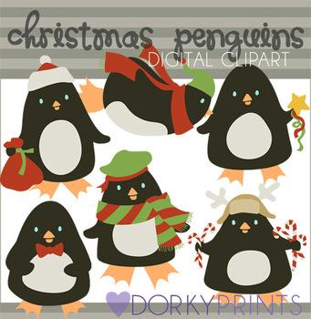 Christmas Penguins Digital Clip Art