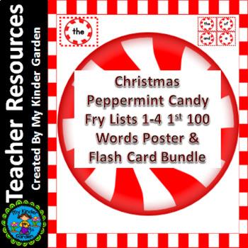 Christmas Peppermint Candy Fry 1st 100 Sight Word Flashcar