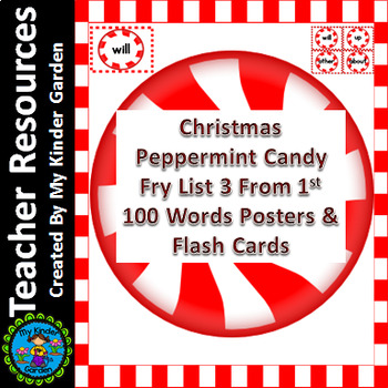 Christmas Peppermint Candy Fry List 3 of 1st 100 Sight Wor