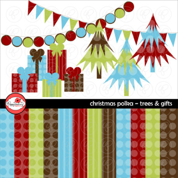 Christmas Polka Trees Gifts Clipart and Digital Paper Set