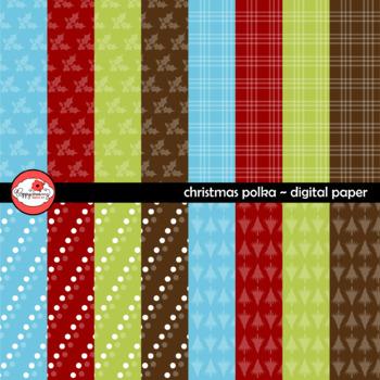 Christmas Polka Coordinating Digital Paper by Poppydreamz