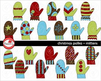 Christmas Polka Mittens Clipart by Poppydreamz