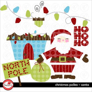 Christmas Polka Santa Clipart by Poppydreamz